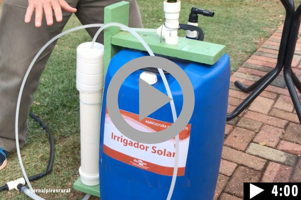O irrigador solar automático na Hortitec