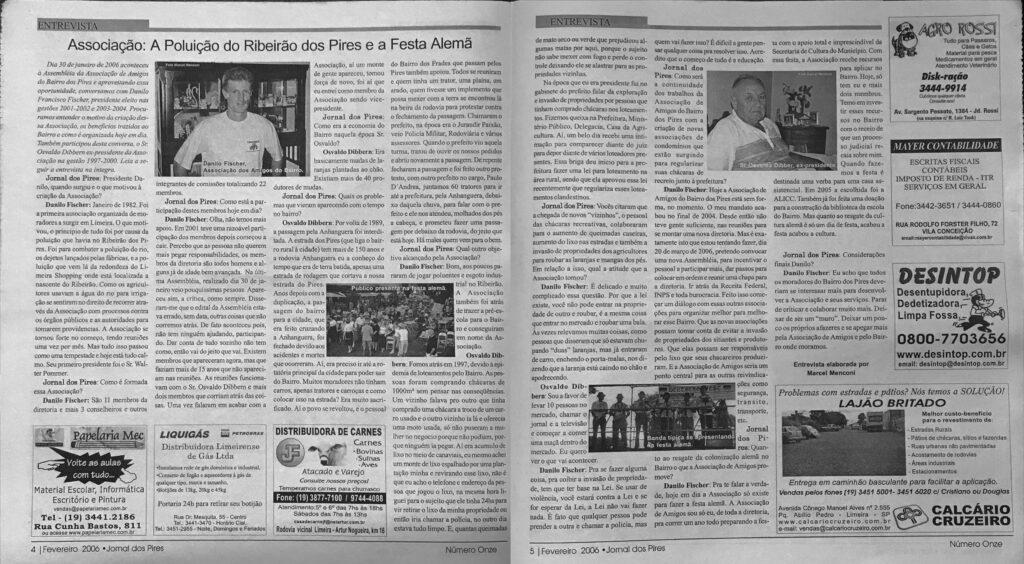 Jornal Pires Rural: Páginas da entrevista publicada no ano de 2006