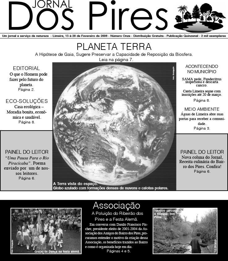 Jornal Pires Rural - capa edição 11, fevereiro de 2006