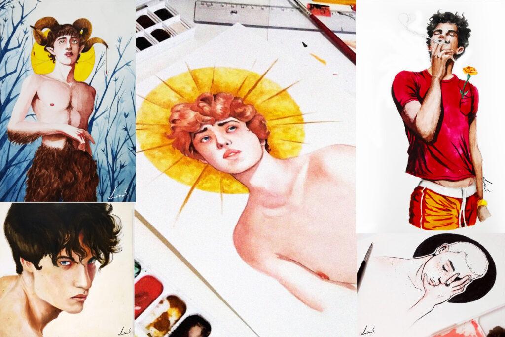 """Desenhos: """"Minha preferência sempre foi por retratar pessoas, sempre gostei de ilustrar algo com o que pudesse me identificar"""""""