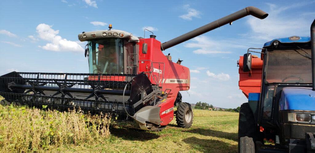 Após colheita, máquina colheitadeira inicia a derrame da soja na carroceria do trator